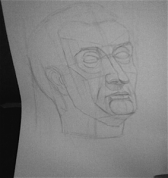 Gatamelata ģipša galvas zīmējums