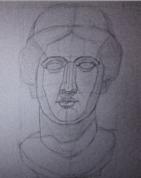 Venēras ģipša galvas zīmējums