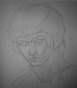 Antinoja ģipša galvas zīmējums