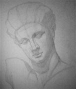 Hermesa ģipša galvas zīmējums