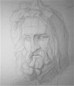 Zevs - ģipša galvas zīmējums