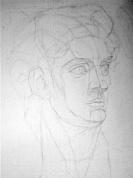 Dāvida ģipša galvas zīmējums (konstrukcija)