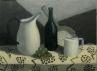 Klusā daba ar zaļām vīnogām ( eļļa, audekls uz kartona)