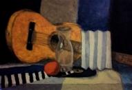 Klusā daba ar ģitāru un apelsīnu ( eļļa uz kartona)