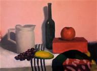 Klusā daba ar ābolu un vīnogām ( eļļa , audekls uz kartona)