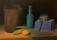 Klusā daba ar citronu un kukurūzu ( eļļa, audekls uz kartona)